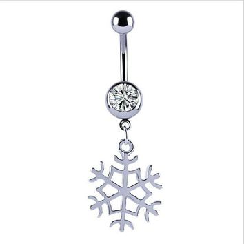 ac DCCKO2Q New Snow Flower Dangle Belly Button Ring Sexy Crystal Double Piercing Barbell Surgical Steel Navel Piercing Fashion Body Jewelry