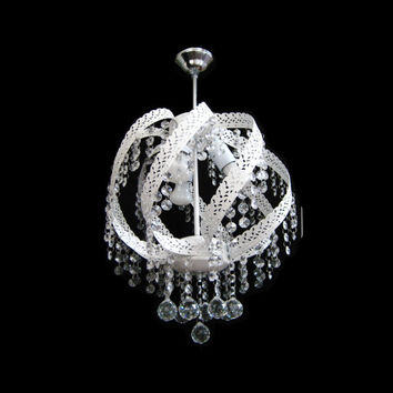 New Elegant 3 Light Glass Crystal Ceiling Light White Chandelier Lights Pendant