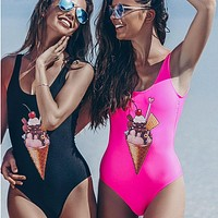 Hot Beach New Arrival Sexy Swimsuit Summer Swimwear Ice-cream Print Bikini