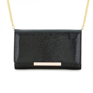 Laney Black Textured Faux Leather Clutch With Gold Chain Strap