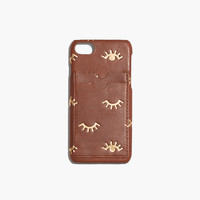 Leather Carryall Case for iPhone® 7: Winking Eye Edition