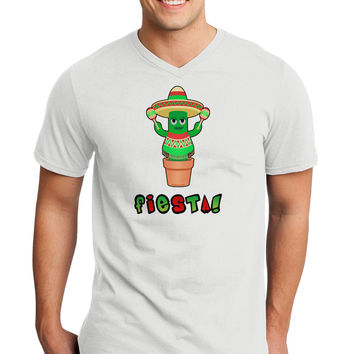 Fiesta Cactus Poncho Text Adult V-Neck T-shirt