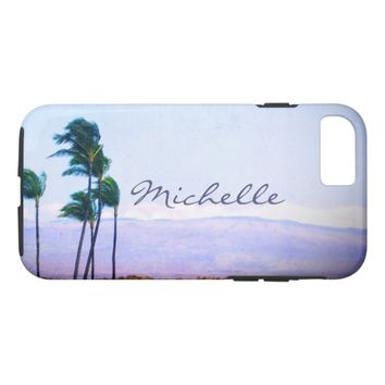 Green palm trees photo custom name cell phone case