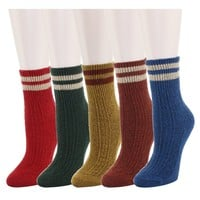 Zmart 5 Pack Women's Thick Knit Wool Cotton Vintage Colorful Casual Fall Winter Crew Socks