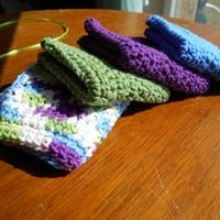 Crochet Washcloths, Handmade, 100% Cotton, Set of 4