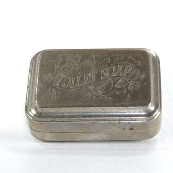 Antique Toilet Soap Engraved Travel Soap Dish Metal Victorian Era c. Late 1800's