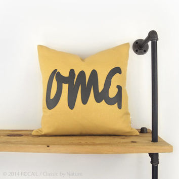 18x18 Outdoor Pillow - Mustard Yellow & Charcoal Gray Pillow - Summer Decor - OMG Applique - Humor Word Pillow Cover - SMS Language