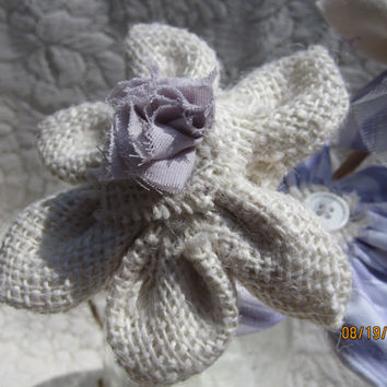 Burlap flower in cream with lavender center for wedding centerpiece, bouquet, hair, or sash