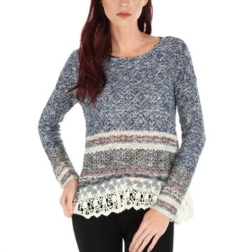 Jolt Juniors Inside Out Sweater with Lace at Von Maur