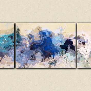 "Large abstract expressionism triptych canvas print, 30x72 giclee in blue, from abstract painting ""The Blues Sometimes"""