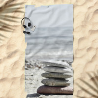 Balancing Stones On The Beach by ARTbyJWP