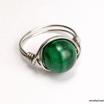 Silver Wire Wrapped Malachite Ring, Green Gemstone Wrap Silver Wire Ring, Chunky Boho Hippie Ring Wedding Bridesmaid Jewelry Stone Wrap Ring