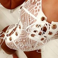 Trend fashion lace perspective swimsuit sexy band v-neck bikini