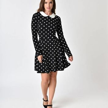1950s Style Black & White Polka Dot Long Sleeve Flare Dress