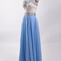 Sweetheart Chifon Long Beaded Women Formal Evening Ballgown Party Prom Dresses