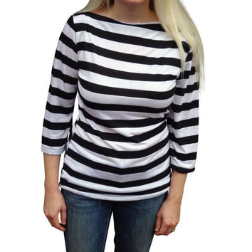 Design Your Own -Designer Womens Classic Stripe Boatneck Top-6 Color Choices