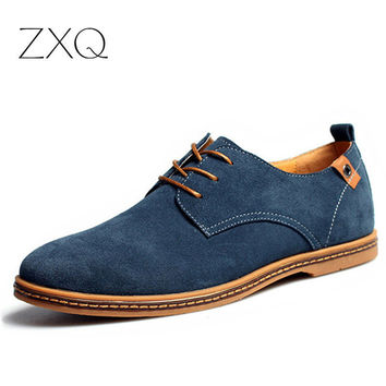 Plus Size 2016 New Fashion Suede Genuine Leather Flat Men Casual Oxford Shoes Low Men Leather Shoes #K01