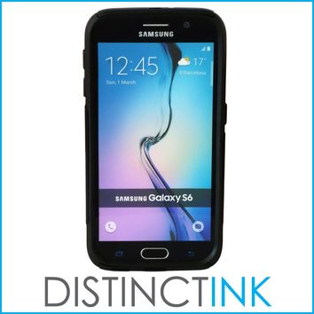 DistinctInk™ Custom Black OtterBox Commuter Series Case for Samsung Galaxy S6 - Marijuana Leaf Drawing