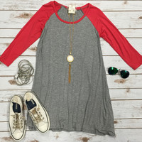 Baseball Style Tunic Dress: Coral