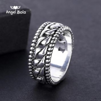 New Fashion Antique Silver Plated Unisex Punk Style Luxury Vintage Buddha Rings for Men Fine Jewelry Bohemian Anel