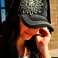 GLITZ & GLAM BLACK QUILTED HAT