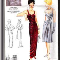 Vogue Designer Original 1960s Reproduction Pattern 2372 Cocktail & Evening Length Dress w/ draped boned bodice Size 12
