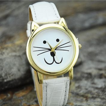 Cat Leather Band Analog Quartz Dial Wrist Watch