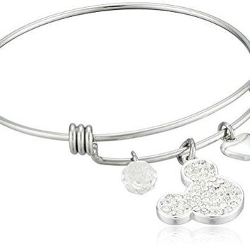 Disney Stainless Steel Catch Bangle with Silver Plated Crystal Mickey Mouse Head I Love Mickey Heart and Crystal Bead Charm Bangle Bracelet