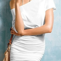 White Off-The Shoulder Bodycon Dress
