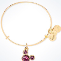 Disney Alex and Ani Mickey Mouse Birthstone Bangle October Gold Finish New