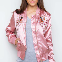 Brilliant Blooms Bomber Jacket - Blush