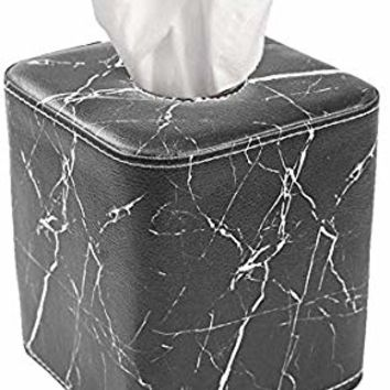 QIELIZI Tissue Box Cover,PU Leather Magnetic Closure Tissues Cube Box Cover for Bathroom Vanity Countertops, Bedroom Dressers, Night Stands, Desks and Tables(Black Marble)