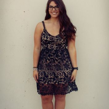 Keep Them Looking Sleeveless Crochet Lace Fit and Flare Dress - Black