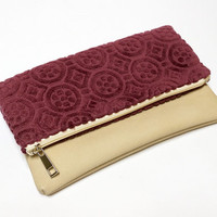Velvet Foldover Clutch Bag - Vegan Leather -  Foldover zipper pouch - Handmade with Love