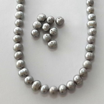 "7-8mm grey pearl, beads, semi baroque pearl, silver pearl strand, pearl necklace, genuine freshwater pearl, strand, 14.5"" around"