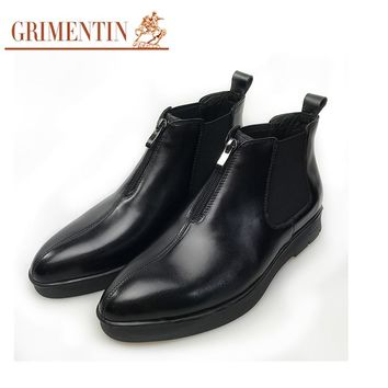 Designer Men Ankle Boots Black Zip Formal Boots Genuine Leather Business Shoes
