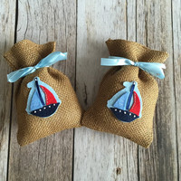 10 boat baby shower burlap favor bags, boat favor bag, baby girl, baby boy.