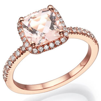 14k Rose Gold Vintage Morganite Engagement Ring Diamond Wedding Band 7x7mm Cushion Pink Peach Morganite Ring