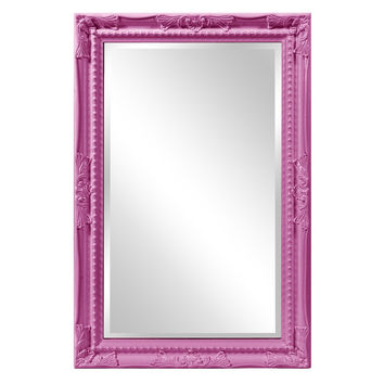 "Howard Elliott Queen Ann Rectangular Glossy Hot Pink Mirror 24"" x 36"" x 1"""