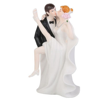 Romantic Ceramic Figurine Groom Bride Wedding Cake Topper Decoration = 1929924676