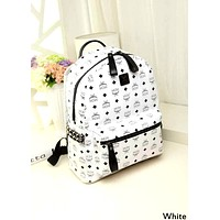 MCM Tide brand men and women classic print side rivet backpack White