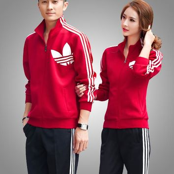 """Adidas"" Casual Cardigan Letter Print Loose Cotton Sweater Pants Sportswears"