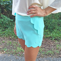 Scalloped Shorts in Blue