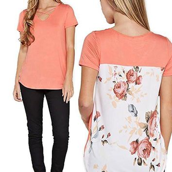 [13268] Women Casual Floral Print Back Short Sleeve Criss Cross V Neck Blouse Tops