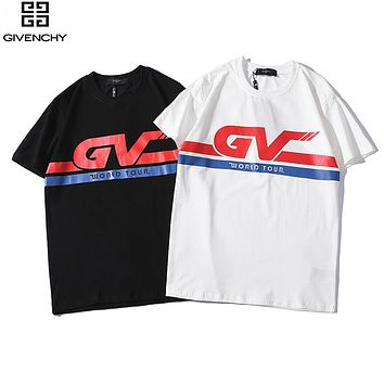 Givenchy 2019 new men and women models GV letter printed round neck short-sleeved T-shirt