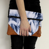 Oversized Foldover Clutch, Shibori Clutch, Navy Blue Clutch, Hand Dyed Purse, Shibori Foldover Bag, Oversized Clutch, Tie Dye Bag