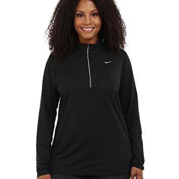 Nike Women's Dri-FIT Extended Element 1/2 Zip Black/Reflective Silver Outerwear Jacket (X-Large)