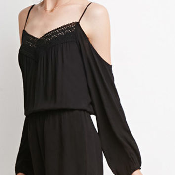 Open-Shoulder Crochet-Trimmed Romper
