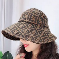 Fendi Fashion New More Letter Women Hollow Cap Sunscreen Travel Hat Coffee