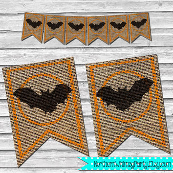 Halloween Black Bat Burlap Banner – DIY Printable Home Decor –  Black & Orange Party Decoration – Stamped Burlap Banner - INSTANT DOWNLOAD